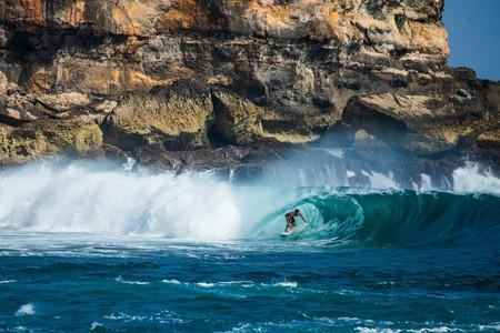 Leon Glatzer surfing off the coast of Java, Indonesia. | © Luke Forgay/Volcom