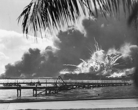 Destroyer USS Shaw exploding during the Attack on Pearl Harbor, December 7, 1941   © Official U.S. Navy photograph/ Wikipedia