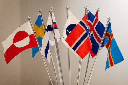 "<a href = ""https://commons.wikimedia.org/wiki/File:De_nordiska_flaggorna.jpeg""> Flags of the Nordic countries 