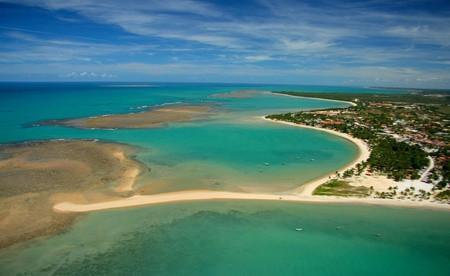 Aerial view of the stunning coastline of Porto Seguro, Bahia