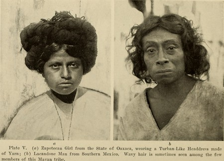 A Zapotec girl on the left and a Lacandon man on the right | © Spinden, Herbert Joseph, 1879-1967/WikiCommons
