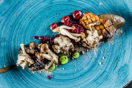 An innovative mushroom dish by Chef Matthew Foxon