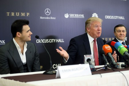 Emin Agalarov, Donald Trump, and Aras Agalarov attend a press conference before the Miss Universe 2013 Pageant in Moscow © Sergei Ilnitsky/Epa/REX/Shutterstock