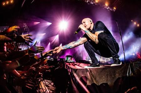Chester Bennington performing with Linkin Park Mairo Cinquetti/REX/Shutterstock
