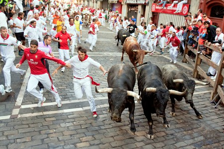 The Running of the Bulls in Pamplona