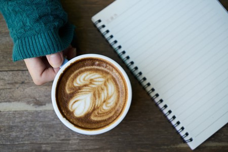 Hands Latte Caffeine Cup Green Notebook Coffee
