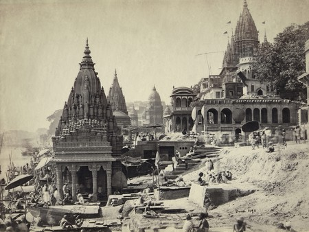 Samuel Bourne, Vishnu Pud & Surrounding Temples near the Burning Ghat, Benares (Varanasi) c. 1865 | Courtesy Getty Images Gallery