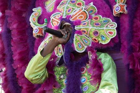 Mardi Gras Indian, 7th Ward second line, New Orleans, 2017   © Carolyn Heneghan