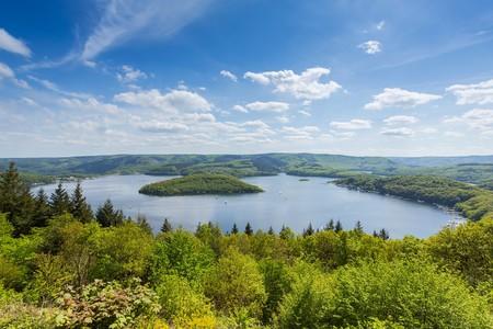 Aerial view of the Rursee lake in the Eifel region