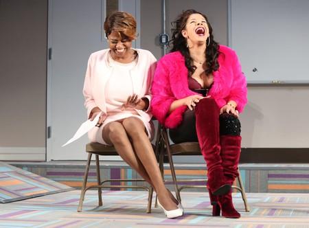 Sandra Caldwell and Hailie Sahar in Charm at the MCC Theater