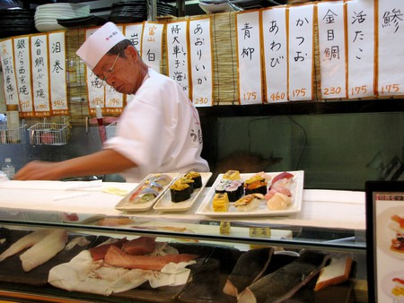 Sushi chef at work.