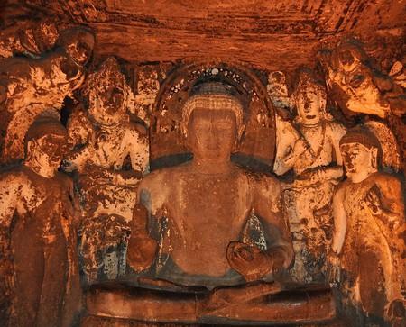 Buddha mural at Ajanta Caves