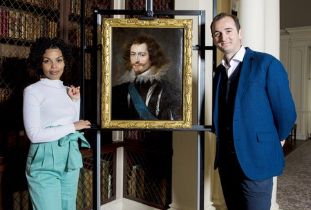 Painting Examination for BBC Show 'Lost Masterpieces' at Pollok House with presenters Emma  Dabiri and Dr Bendor Grosvenor | Courtesy BBC © CSG CIC Glasgow Museums