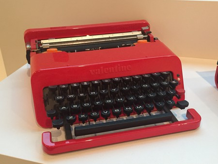 The Valentine typewriter on exhibit at The MET Breuer's Ettore Sottsass: Design Radical   © Amber C. Snider