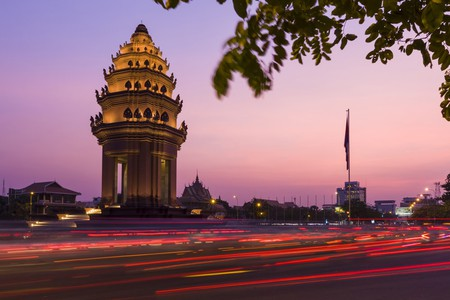 The Independence Monument in Phnom Penh is just one of historic cultural sights to take in in the Cambodian capital