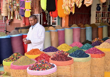 """<a href = """"https://www.flickr.com/photos/erix-pix/31063308270""""> Colourful Moroccan spices at a market 