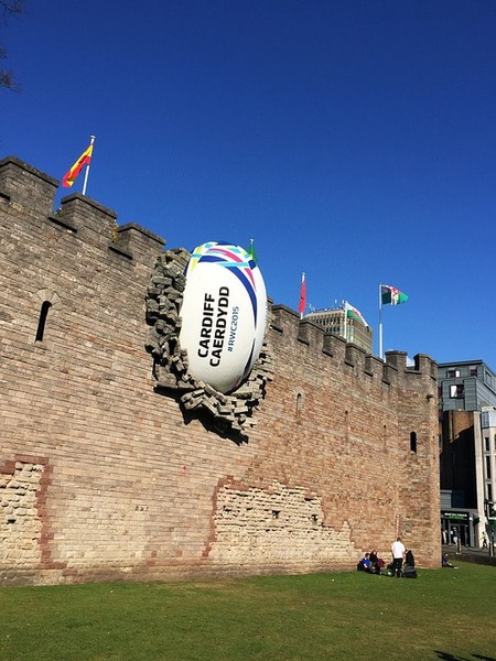 The rugby ball in the wall of Cardiff Castle during the Rugby World Cup