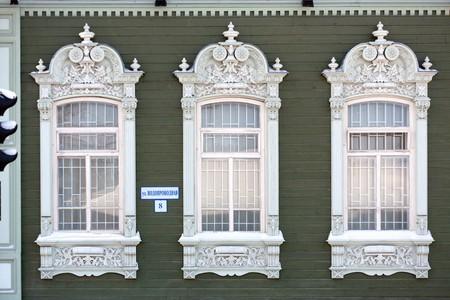 Ornate window frames in Tumen, Russia