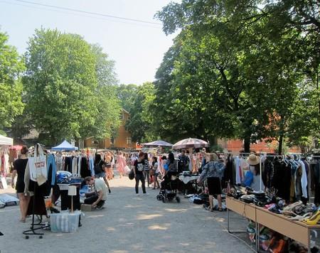 Vestkanttorvet flea market is located next to Norway's oldest sculpture park