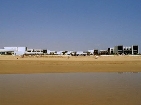 Views from the ocean back across the sands to the Hotel Sofitel Agadir Thalassa Sea & Spa