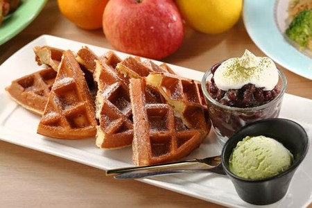 Waffles with red bean and green tea ice cream | Courtesy of OA, My Dear Cafe