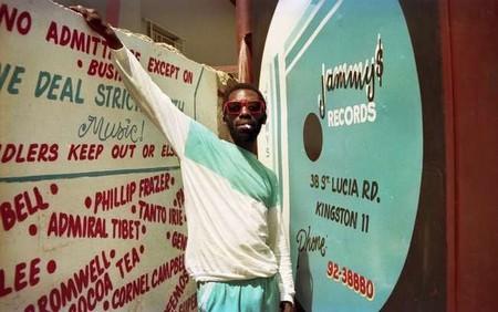 Outside King Jammy's studio in Kingston   Courtesy of Beth Lesser/Soul Jazz Records Publishing