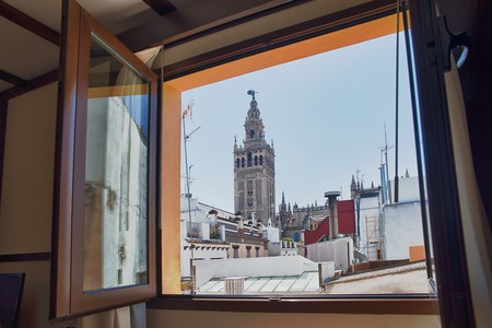 A room at Hotel Alminar with a view of Seville's cathedral and belltower; courtesy Hotel Alimar