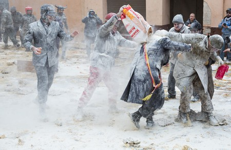 Locals take part in the annual flour fight in Ibi, Spain | © Iakov Filimonov / Shutterstock