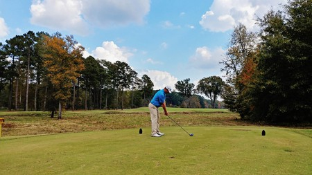 Cameron Wiebe tees off at Champions Retreat in Evans, Ga.