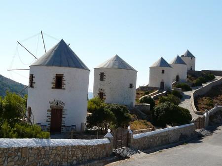 Old wind mills in Agia Marina, Leros