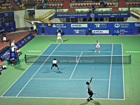 An Aircel Chennai Open doubles match at the SDAT Tennis Stadium in Nungambakkam, Chennai | ©Ashok Prabhakaran/Flickr