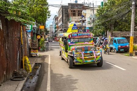 Colorful apple green jeepney in Cebu