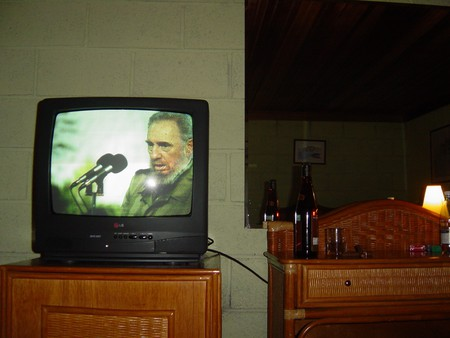Fidel Castro makes a speech on Cuban television