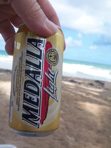 Nothing like a Medalla at the beach in Puerto Rico