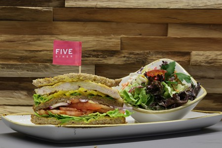 Sandwich and salad at Five Diner | Courtesy of Five Diner