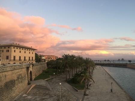 Palma old city walls at dusk