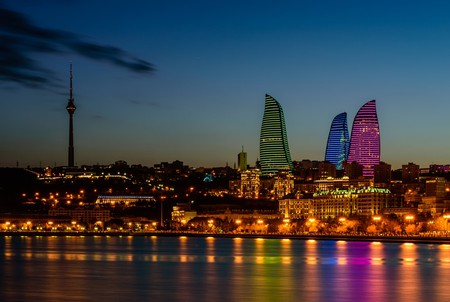Night view of the Flame Towers in Baku, Azerbaijan | © RAndrei/Shutterstock