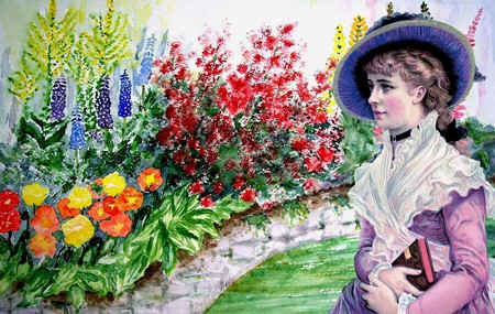 Victorian female in a garden of flowers | © Pixabay
