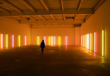 """Dan Flavin, alternating pink and """"gold"""" [installation view], 1967 at David Zwirner   Source: Andrew Russeth/Flickr"""
