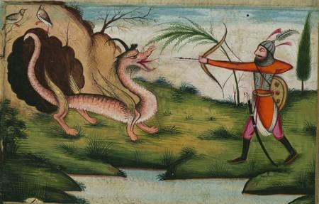 Illuminated Manuscript, Five poems (quintet), Bahrām Gūr kills a dragon, Walters Art Museum Ms. W.608, fol. 174a detail. Public domain.