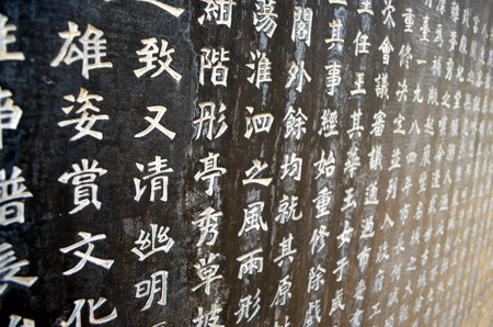 Chinese characters on a stele   © Peter Griffin