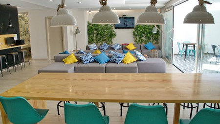 A beautiful common room © courtesy of Top City Hostel