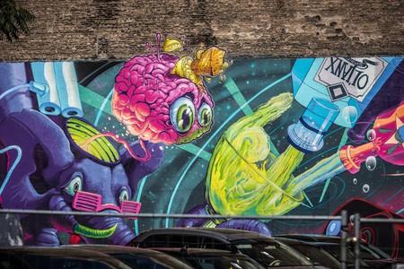 Mural created by Fat Heat, Mr.Zero and ObieOne   Courtesy of Színes Város