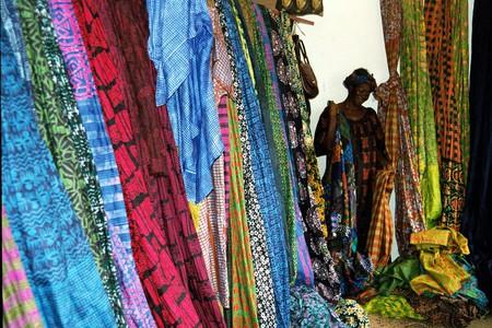 Ghanaian fabrics at Merci Asi Okanse's shop, Osu