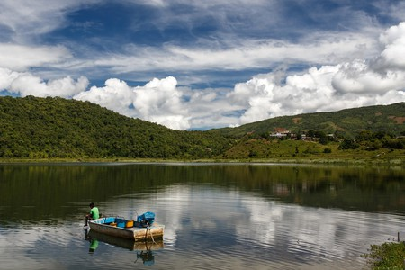 A lone boat on Rih Lake in Chin State, Myanmar   © Sam DCruz / Shutterstock