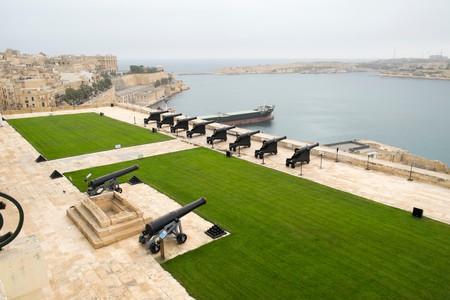 Upper Barrakka Gardens and Grand Harbor in Valletta, Malta