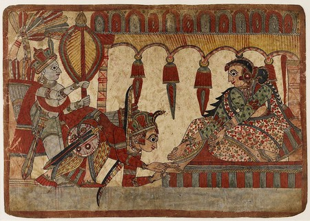 An ancient Indian painting showcasing Abhimanyu seeking blessings from his mother by touching her feet | © collections.lacma.org/Wiki Commons