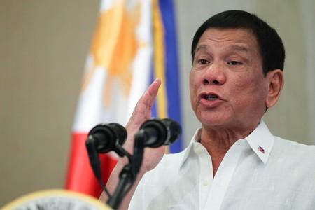 Rodrigo Duterte delivering a speech