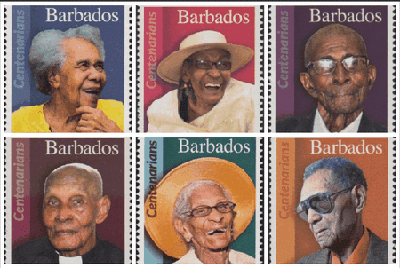 Centenarian stamps   Courtesy of Barbados Stamps