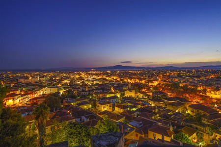 View of the wonderful old town of Kalamata City, taken from the old Castle at Sunset, Messinia, Greece